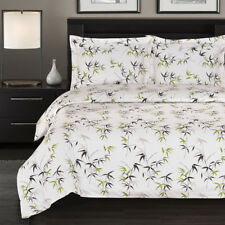 100% Cotton Duvet Cover Sets- Fern 300 Thread Count Reversible Flower Printed