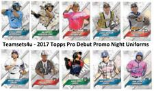 2017 Topps Pro Debut Promo Night Uniforms Baseball Set ** Pick Your Team **