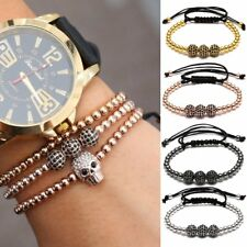 2017 Gold Micro Pave New Charm Black Beads Braiding Macrame Men Bracelet Jewelry