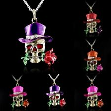 Halloween Fashion Crystal Skull Flower Sweater Chain Pendant Necklace Jewelry