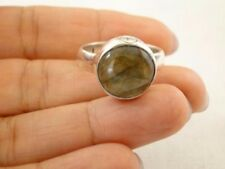 Round Labradorite Button 925 Sterling Silver Ring Size 6 3/4, 7 3/4
