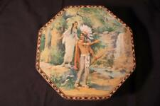 NICE ANTIQUE VINTAGE LITHO BISCUIT TIN - AMERICAN INDIAN IMAGERY-FREE SHIP-NR