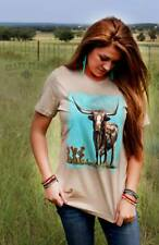 New Crazy Train Clothing The Stockyards Longhorn Shirt Size Small to 3XL Tan