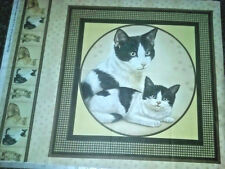 Mama Cat w/Baby Kitty Cotton Fabric Pillow Panel  OOP