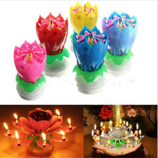 Birthday Lotus Flower Candle Decoration Blossom Musical Rotating Magic Gift