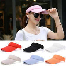 Men Women Adjustable Plain Visor Outdoor Sun Cap Sport Golf Tennis Beach Hat jh6