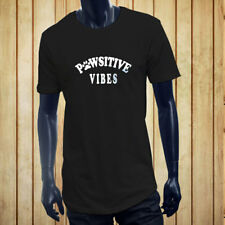 PAWSITIVE VIBES POSITIVE FUNNY DOGS CAT PETS LOVE Men Black Extended Long TShirt