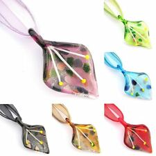 Silver Foil Bud Leaf Glass Lampwork Murano Bead Pendant Necklace Wax Ribbon Cord