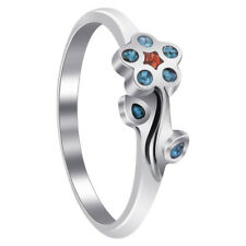 925 Silver Turquoise and Coral Gemstone Southwestern Style Flower Ring #TBRS052