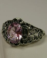 2ct *Pink Topaz* Sterling Silver Art Nouveau Filigree Ring Size: {Made To Order}