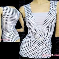 NEW Black And White Polka Dots O-Buckle Sleeveless Tank Top Blouse Shell Tops SM