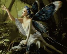 """16x20""""Forest Winged Fairy DIY Paint By Number Kit Acrylic Oil Painting On Canvas"""
