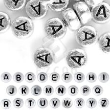 90pcs Acrylic Alphabet Beads A-Z Round Silver Jewelry 7x7x3mm Wholesale AR365