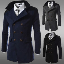 Mens Slim Fit Double Breasted Jacket Wool Long Trench Winter Warm Coat Outwears