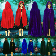 Kids Velvet Hooded Cloak Cape Medieval Pagan Witch Vampire Halloween Costume US
