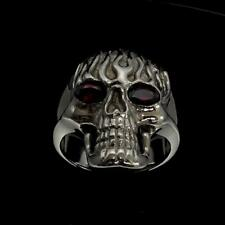 SHINING STERLING SILVER MENS RING GHOSTRIDER SKULL ON FIRE RED CZ EYES ANY SIZE