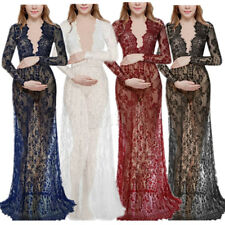 Womens Maternity Sexy Deep V-Neck Long Sleeve Lace See-through Maxi Dress Plus