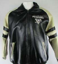 Pittsburgh Penguins Men's Embroidered Faux Leather Moto Jacket Black [FLaw] NHL
