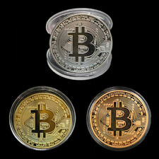 Silver/Gold Plated Bitcoin Coin Collectible BTC Coin Art Collection Physical