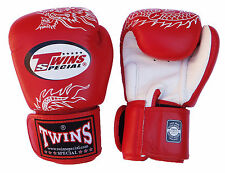 Thai Boxing Gloves Muay Thai TWINS Dragon red leather