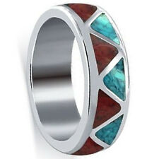 Unisex 925 Silver Turquoise and Coral Gemstone Southwestern Ring Size 4 to 15