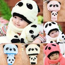 Winter Baby Toddler Boy Girls Kids Warm Cute Panda Hat Cap Beanie Scarf Set Y7M0
