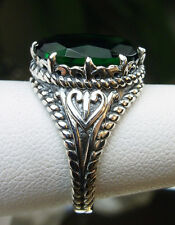6ct Oval *Emerald* Sterling Silver Gothic Claw Filigree Ring Size: Made to Order