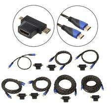 Braided HDMI V1.4 Male To Male Cable+Mini HDMI & Micro HDMI Adapter 0.5-15M Kit