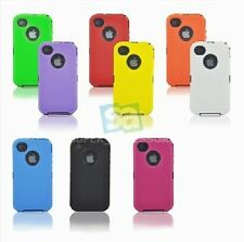 NEW Defend Case BLACK Hard Cover Soft COLOR Silicone Skin for iPhone 4 4G / 4S