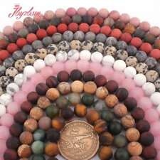 """8mm Round Frost Matte Jade Stone Spacer Loose Beads Strand 15"""" Muti-Stone Pink"""