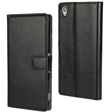 Black Premium Textured Leather Wallet Stand Case for Sony Xperia Z3