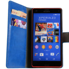 Blue Luxury Leather Wallet Stand Case for Sony Xperia Z3 Compact
