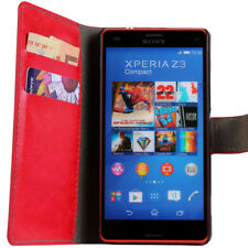 Red Luxury Leather Wallet Stand Case for Sony Xperia Z3 Compact