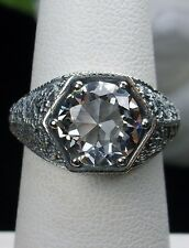 3ct White Topaz Sterling Silver Victorian/Edwardian Filigree Ring: Made To Order