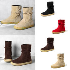 Women Solid Slip On  Mid-Calf Boots Ladies Plain Round Toe Soft casual Shoes