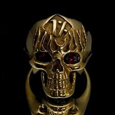 SHINING BRONZE MENS BIKER COSTUME RING PERCENTER OUTLAW SKULL RED EYES ANY SIZE