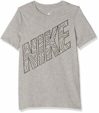 New Nike Boys Short Sleeve Graphic Print T-Shirt Sizes S, M, L, and XL Gray