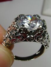 5ct Oval Cut Zirconia Gem Sterling Silver Leaf Ivy Filigree Ring (Made To Order)