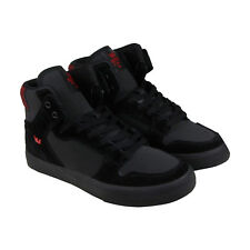 Supra Vaider Mens Black Suede & Leather High Top Lace Up Sneakers Shoes