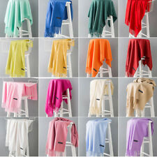 Fashion Women's Silk Style Solid Long Pashmina Shawl Wrap Scarf Cashmere Scarf