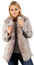 Women's Grey Shearling Toscana Trench Coat with Belt
