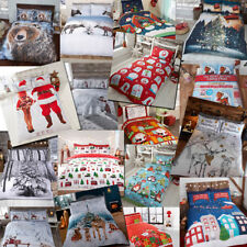 Winter & Christmas Print Duvet Quilt Cover Bedding Set & Pillowcases from