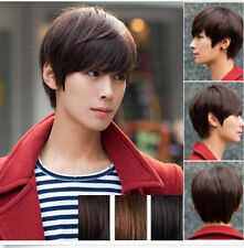 New Men's Handsome Short Straight Hair Korean Full Wigs Cosplay Party 3 Colors