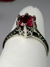 Victorian Wedding *Red Ruby* Solid Sterling Silver Filigree Ring {Made To Order}