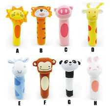 Cute Fuzzy Soft Toy Animal Infant Handbells Rattles Bolster For Baby Kid Gift