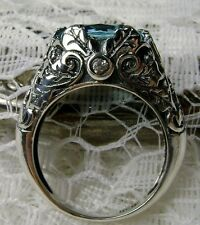 5ct *Aquamarine* Solid Sterling Silver Leaf Ivy Filigree Ring {Made To Order}