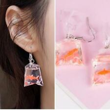 Fashion Lovely Cute Goldfish Water Bag Shape Dangle Hook Earrings Women Jewelry