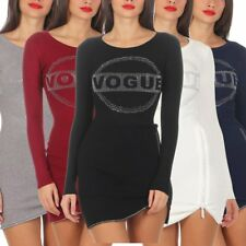 5392 Women's Fine Knit Sweater Knitted Pullover Long Mini Dress Vogue
