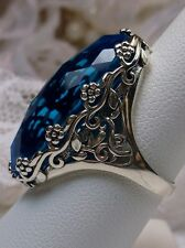 Big Oval 15ct *Swiss Topaz* Floral Filigree Sterling Silver Ring {Made To Order}