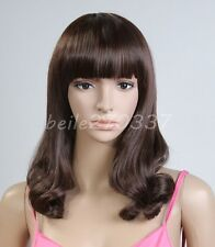 New  Ladys Mid-Long Fashion Curly Brown/Black Wigs Party Wave Cosplay Hair Wig